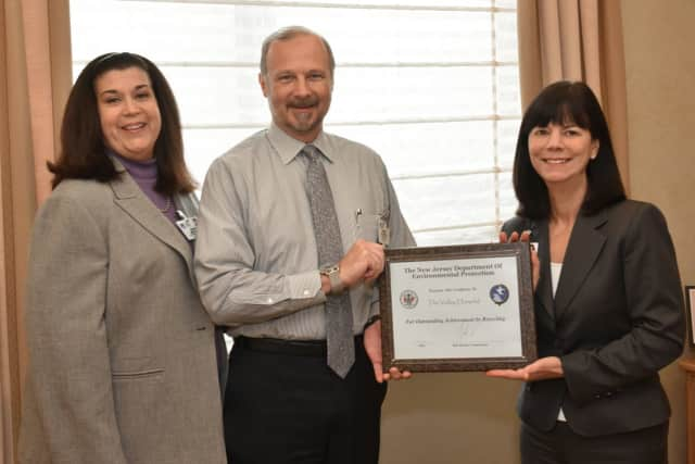 L to R: Maria Mediago, Vice President, Facilities Management, The Valley Hospital; Howard Halverson, Director, Environmental Services, The Valley Hospital; and Audrey Meyers, President and CEO, Valley Health System.