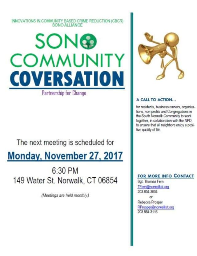 The next SoNo Community Conversation will be held Monday, Nov. 27