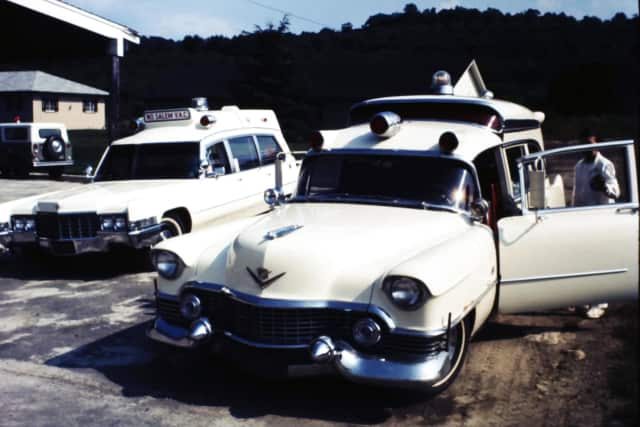 The North Salem Volunteer Ambulance Corps, founded in 1969, arose from humble beginnings. Pictured are its first two ambulances.