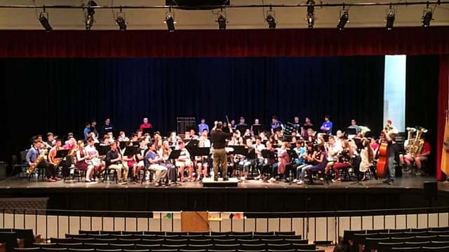 NVD music students and a visiting symphonic band from Vermont played together on April 29.