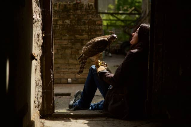 """Helen Macdonald with Lupin in """"H is for Hawks,"""" an installment of PBS' """"Nature."""" Photograph by George Woodcock. © Mike Birkhead Associates."""