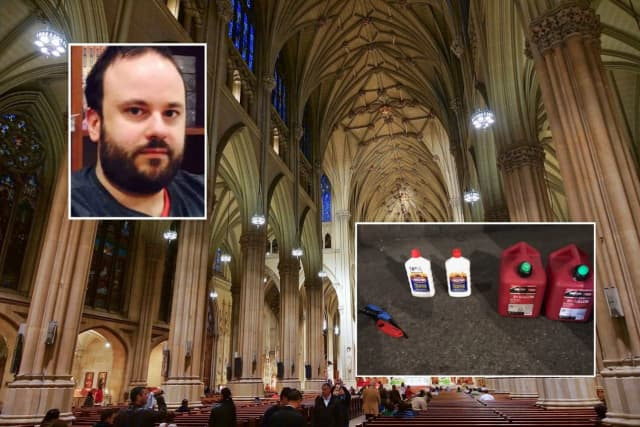 Police displayed the items that Marc Lamparello was caught carrying when they said he tried to enter St. Patrick's Cathedral.