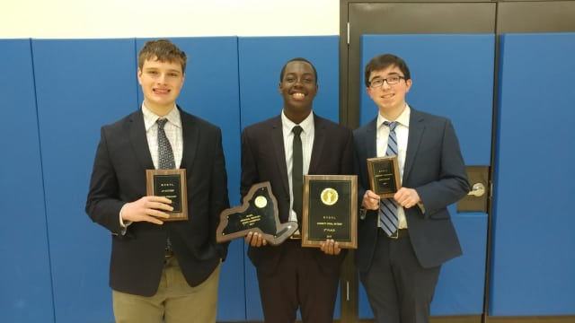 Noah Darden (center), along with state extemporaneous speaking semi-finalist Jacob Cannon (left) and state student congress semi-finalist Timothy Brisson (right), were among the six Gaels who qualified for the he National Speech and Debate Tournament