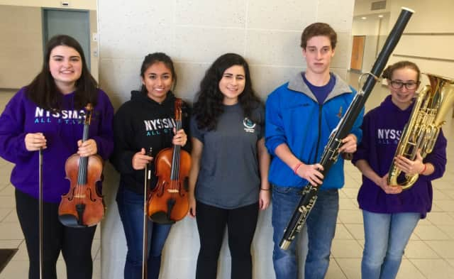Selected to perform in the 2015 state School Music Association Winter Conference last week, from left, were: Meredith Abato on violin; Sarah Samaranayake, viola; Isabelle Levine, soprano; Jacob Brady, bassoon; and Elana Hausknecht, euphonium.