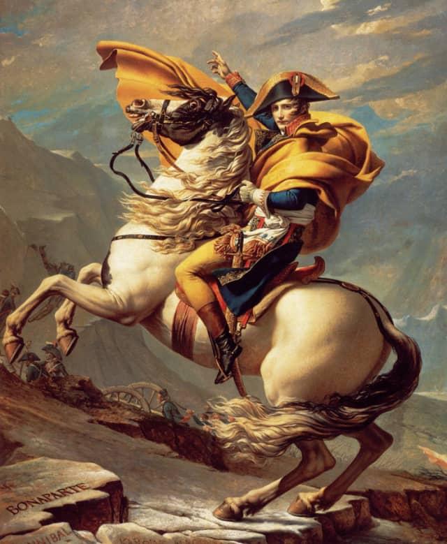 "Jacques-Louis David's ""Napoleon Crossing the Alps"" (1801), oil on canvas, crystallizes the neoclassical ideal of Napoleon as Alexandrian conqueror. Château de Malmaison, Rueil-Malmaison."