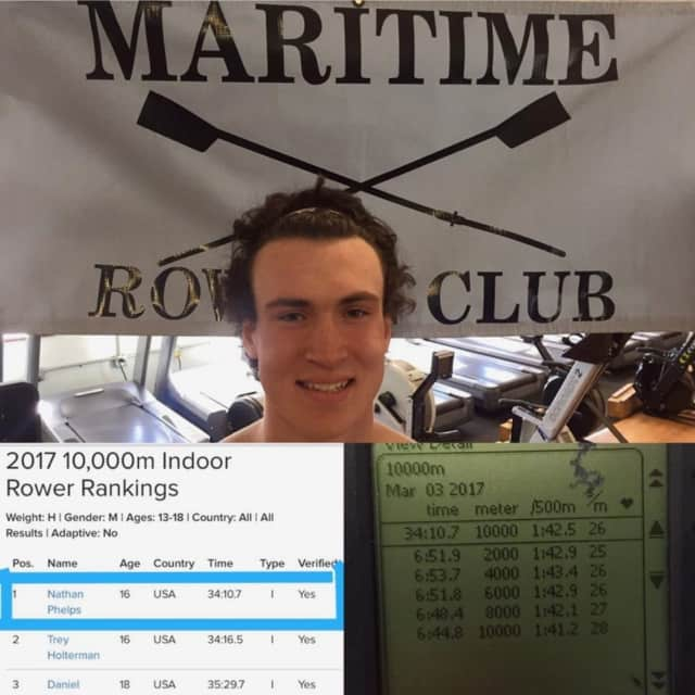 St. Luke's junior rower Nate Phelps '18 broke the U-17 10,000 meter indoor rowing world record at the Maritime Rowing Club on Saturday, March 4.