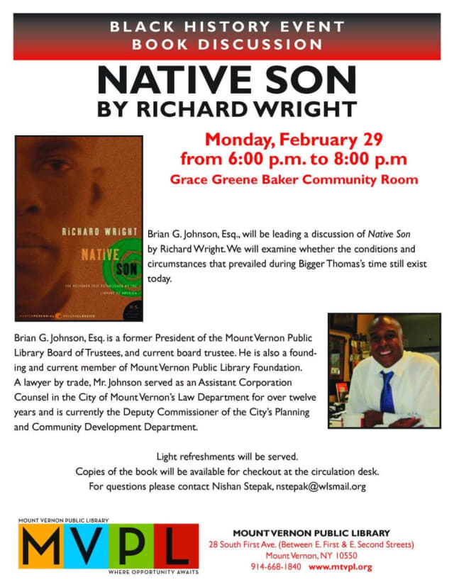 "Richard Wright's ""Native Son"" will be discussed at the Mount Vernon Public Library."