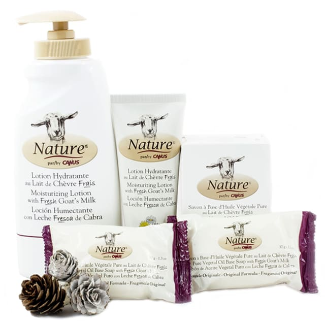 Products from Nature by Canus, all of which are made using fresh goat's milk, include soap, moisturizing lotion and body wash. Pictured above is the five-piece Nature Perfect Pack, $29.99. Courtesy Nature by Canus.