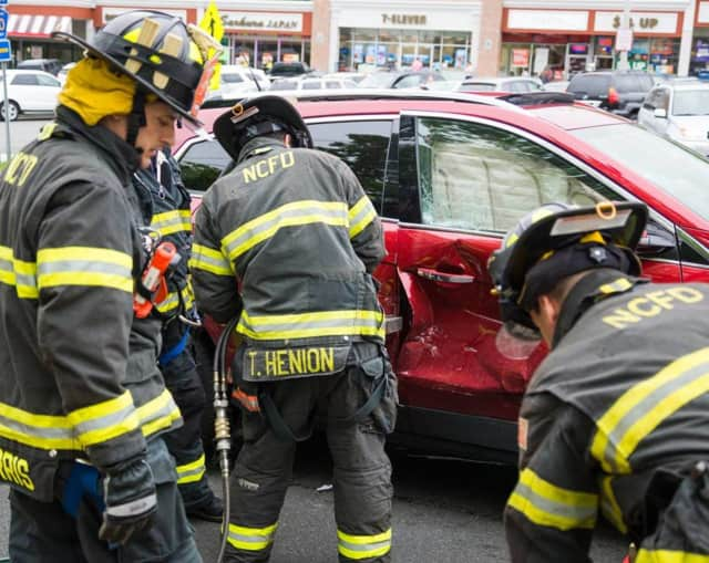 The New City Fire Department used the Jaws of Life to rescue a person trapped after a two-car accident on Saturday.