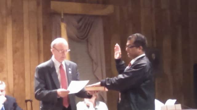 Demarest's newest councilman, Joseph Connolly, took the oath of office Monday night. He was sworn in by Mayor Ray Czwinski, left.