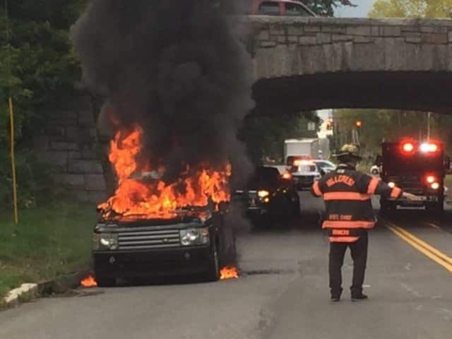 A Land Rover that caught fire on Monday was extinguished by the Hillcrest Fire Department.