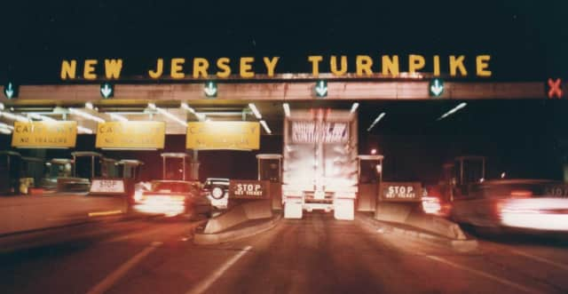 A toll booth on the New Jersey Turnpike.
