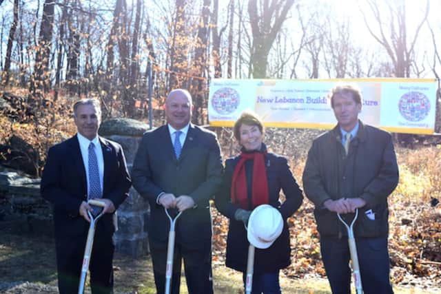 The Greenwich delegation to Hartford, which secures funding for the New Lebanon School, attend the groundbreaking.