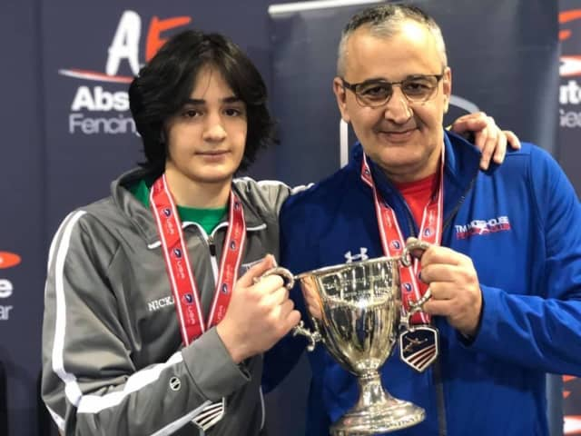 Nickoloz Lortkipanidze pictured with his father and coach, Achiko Lortkipanidze