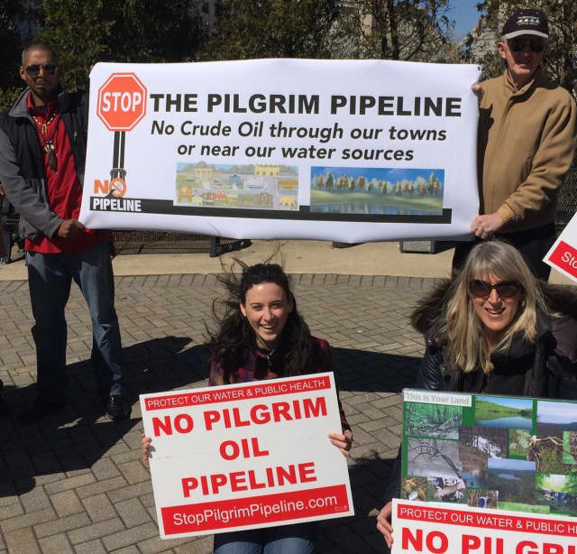 At a recent No Pilgrim Pipeline rally at the Bergen County freeholders office are, left to right, Deke Defreese of Oakland; Ariel Schwalb of Food and Water Watch; Peggy Bost of Mahwah; and Norman Fischer of Teaneck.