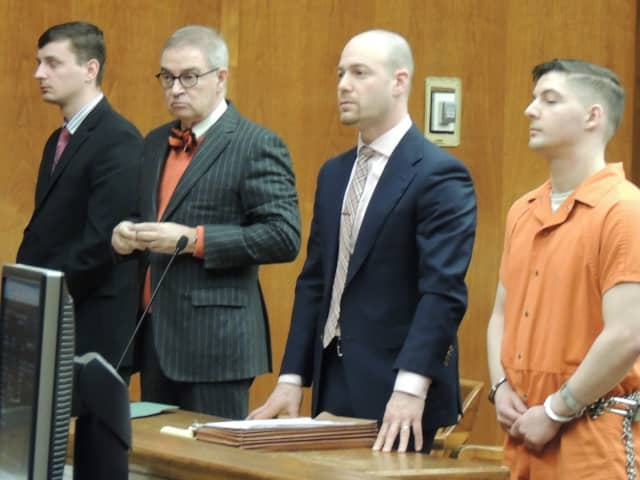 Alexander Norrell (far left), Joseph Galli with their attorneys