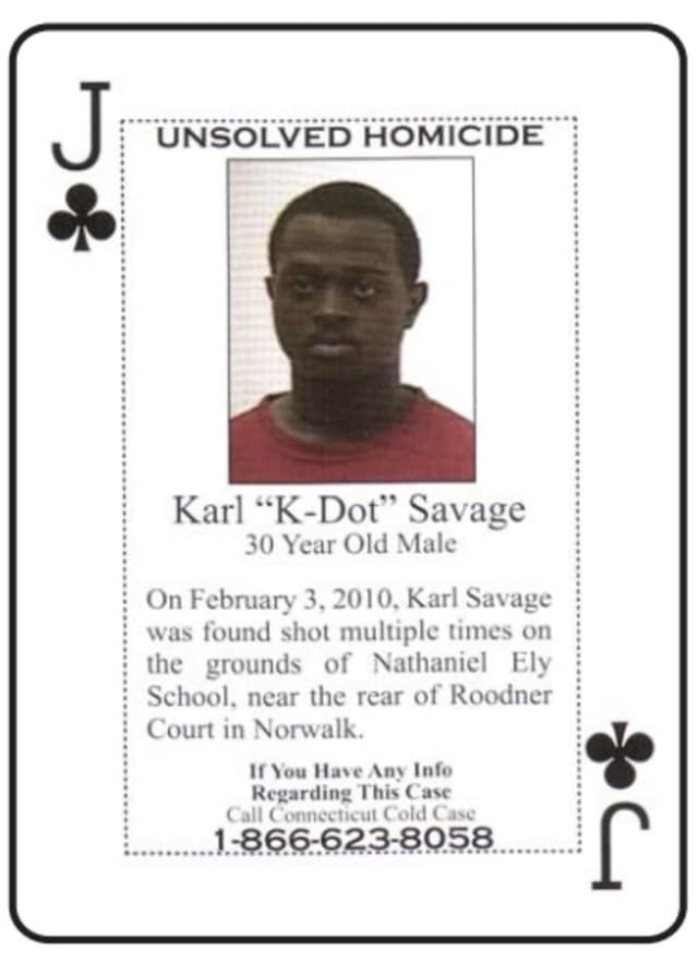Karl Savage is one of several Norwalk murder victims included on a new cold case playing card set issued to Connecticut inmates.