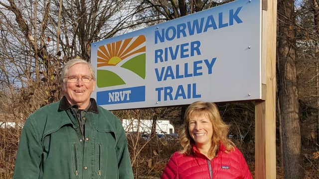 Charlie Taney, the new executive director of the Norwalk River Valley Trail, with Pat Sesto of Ridgefield, president of the Friends of the NRVT.