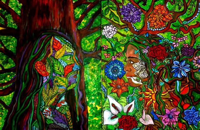 """""""Roots by Colours,"""" an art exhibit by Monica Amparo Chavarria Piedrahita, can be viewed at the Fort Lee Public Library until Jan. 16."""