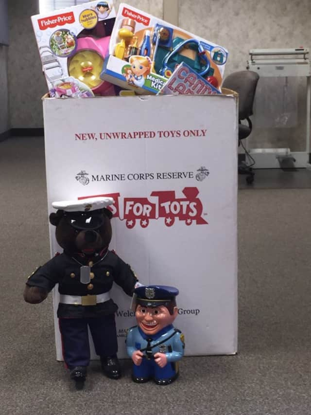 Toys for Tots spokestoys U.S. Marine Bear and Carl the Cookie Jar Cop are reminding folks that there's still plenty of time to donate. Collection boxes are available at the Birdsall-Fagan Police and Court Facility on Spring Street in Ossining.