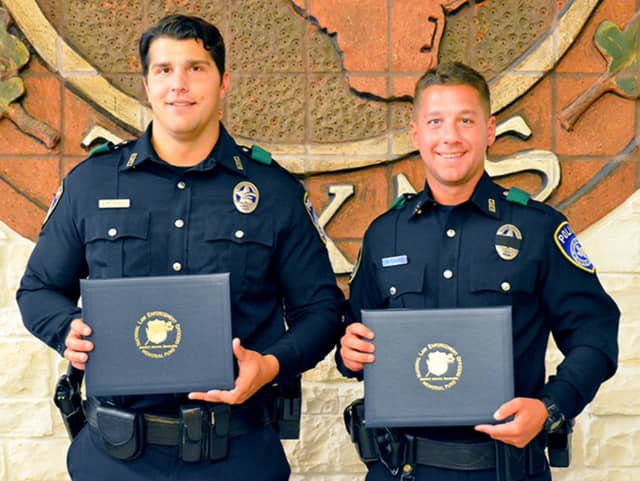 Euless, Texas Police Officers Ed Pietrowski, left, a Beacon native, and Michael Sarro. Both men are former NYPD officers.