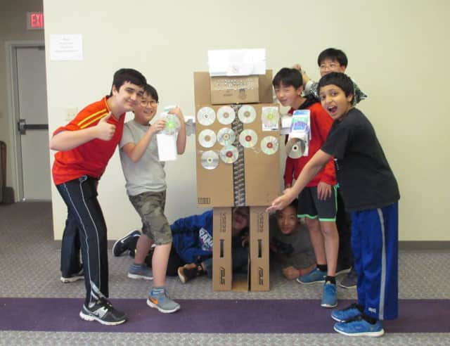 Kids created a life-sized robot out of styrofoam, cardboard and other scrap items at the Old Tappan Public Library.