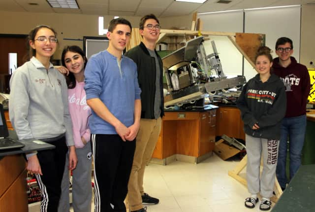 Among the members of the Ossining O-Bots are, l-r: Florencia DeArmas, Romina Gamarra, Nicholas Tremaroli, Alex Walsh, Mia Gunn, and Trey Usher. The high school robotics team recently qualified to enter an international competition this spring.