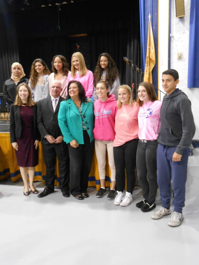 Pictured are students who make up the editorial staff of The Lighthouse for the 2015-2016 school year with Newspaper Advisor Tanya Pastor, state Assemblyman Gary Schaer and state Assemblywoman Marlene Caride.