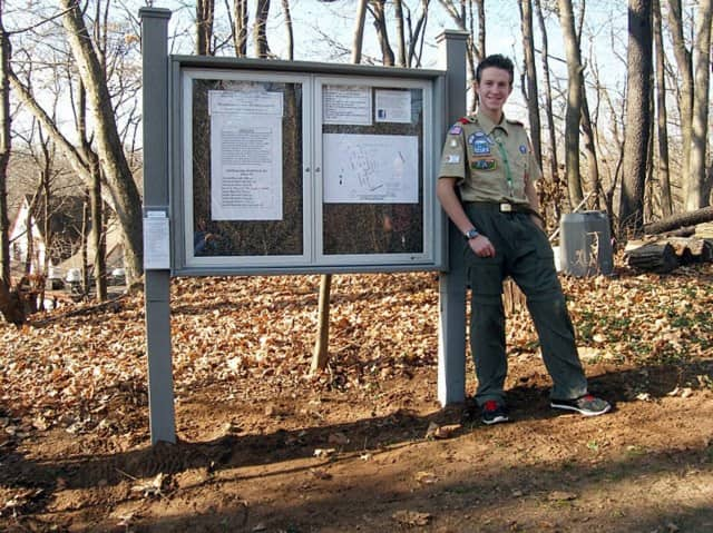 Brad Bistritz and Boy Scout Troop 616 installed an information board at the Old Burying Ground -- one of the historic sites maintained by the Harrington Park Historical Society.
