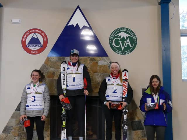 Greenwich resident Olivia Holm, center, earned the title of Overall U16 National Champion at the U.S. Ski and Snowboard Association's U16 Championships.