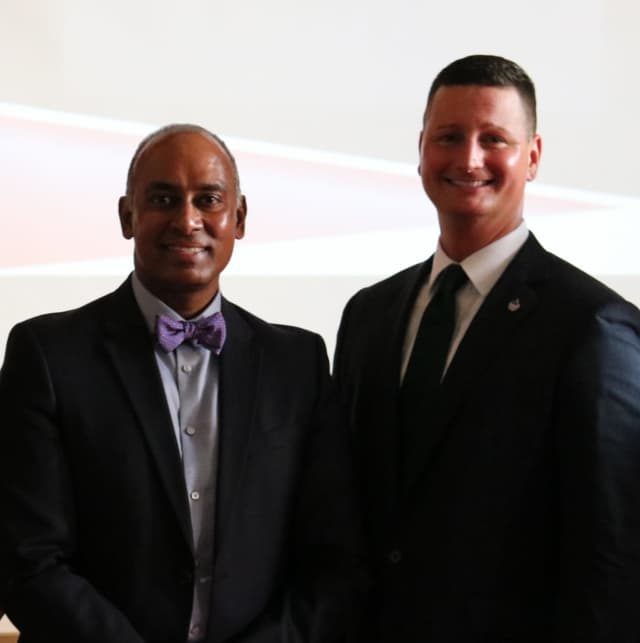 Board of Education President Dennis Rambaran with Superintendent Joseph Ricca.