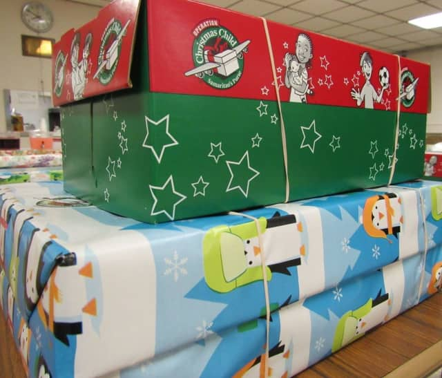 Decked out and filled up shoeboxes from Operation Christmas Child.