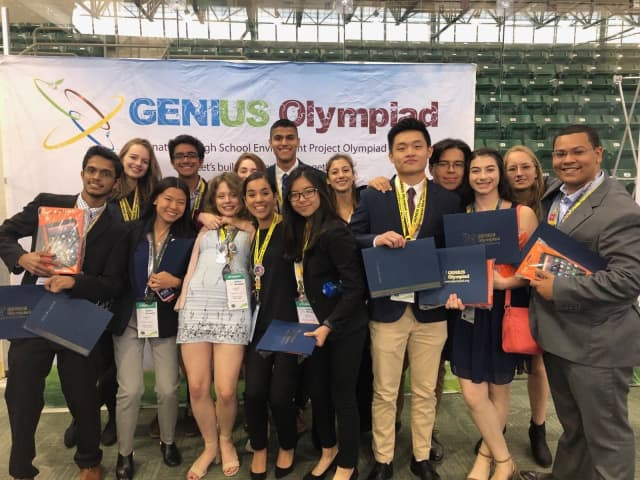Ossining High School students and science award winners at the ninth annual GENIUS Olympiad, which took place between Monday, June 17 and Saturday, June 22 at SUNY Oswego.