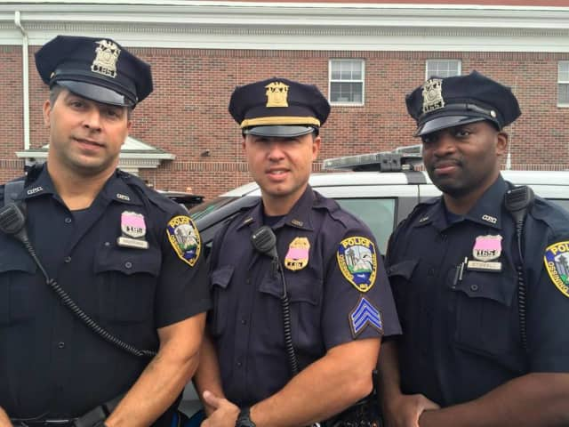 Ossining Police Department officers are wearing pink over their badges throughout October, which is nationally recognized as Breast Cancer Awareness month.