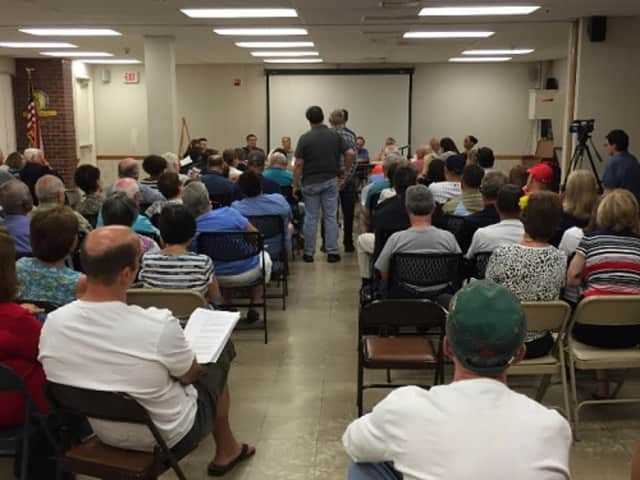 Residents attend a scoping session on a proposed 188-unit apartment complex in Ossining Wednesday.