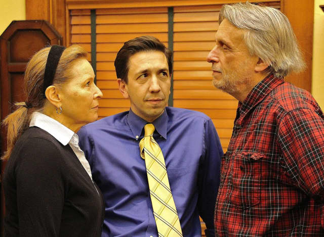 "Peggy Nelson, Damian Long and Al Kulcsar in ""The Outgoing Tide."""