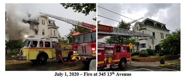 Funeral home fire in Newark, July 1.