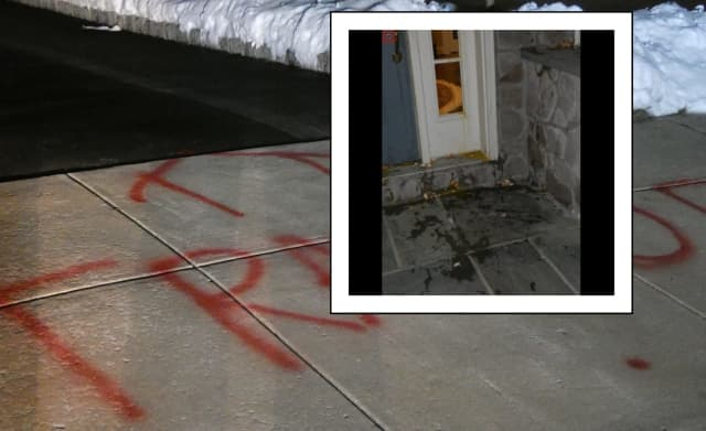 Graffiti was reported at the home of attorney Michael van der Veen on the 500 block of Anthony's Drive in West Whiteland Township around 8 p.m. Friday, local police said.
