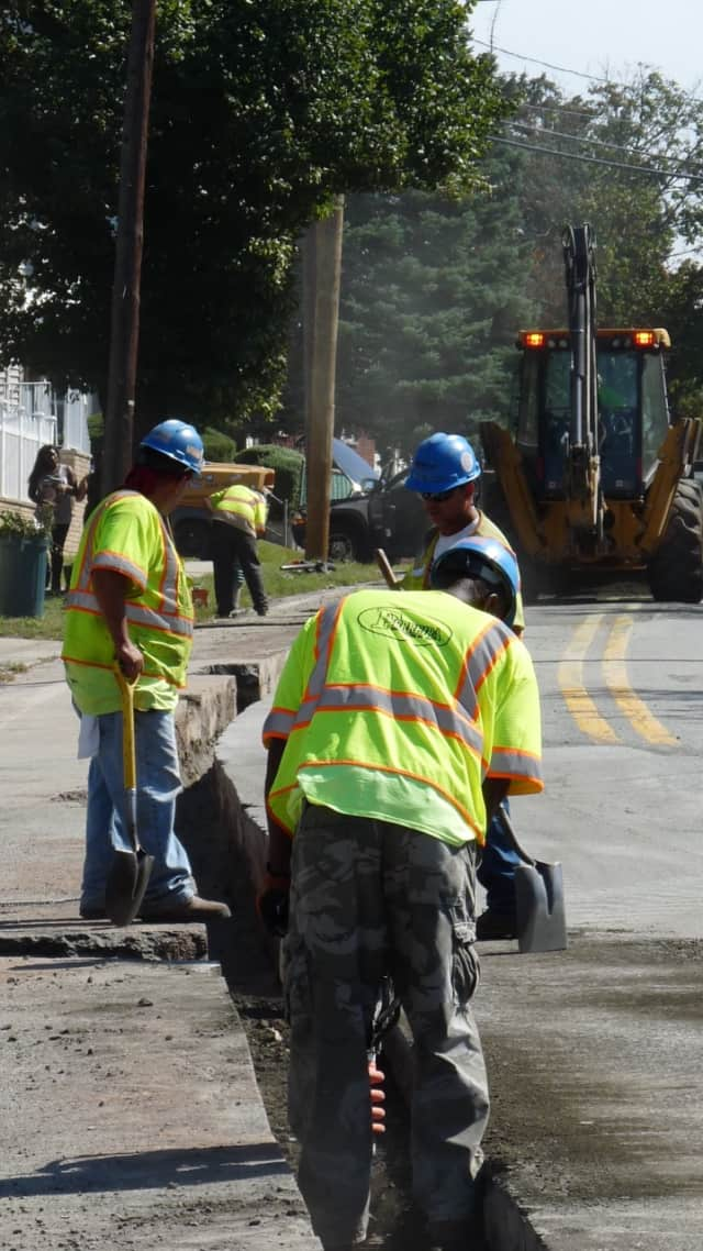 Contractors for PSE&G's Energy Strong project at work on River Drive in Elmwood Park — one of several road projects tying up traffic in the area this week.