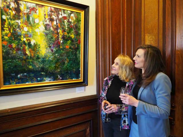 Gail Ingis, mansion trustee, and Susan Gilgore, executive director of Lockwood-Mathews Mansion Museum. Photograph by Bob Rozycki.