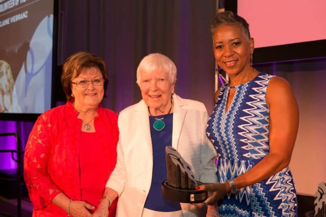 Left to right: Nancy Alfano (Chair of the USTA Awards Committee), Elaine Viebranz (League Volunteer Award recipient) and Katrina Adams (USTA CEO and President)