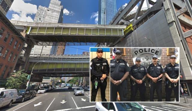 INSET (LEFT to RIGHT): Port Authority Police Sgt. Juan DeJesus, Lt. Paul O'Dell, Officer Lenny Guzman, Sgt. Steve Way, Officer Lenny Duque