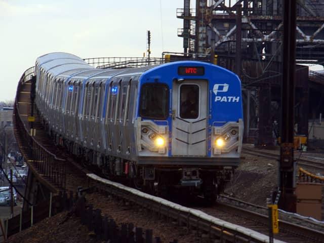 PATH train heading into Newark Penn Station.