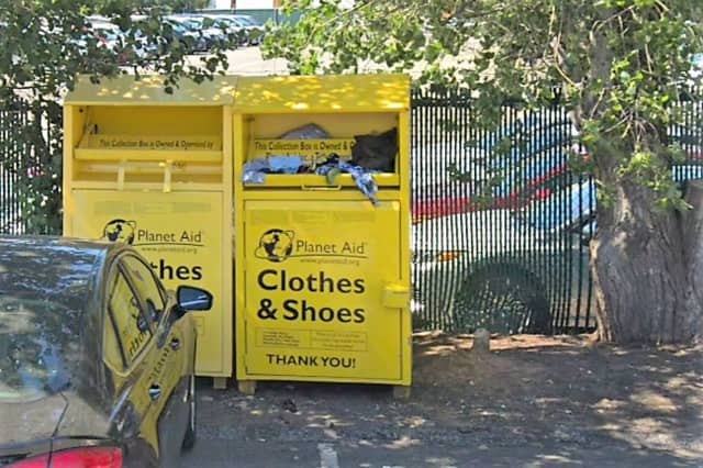 The Planet Aid clothing bin at 321 Broad Ave., Ridgefield.