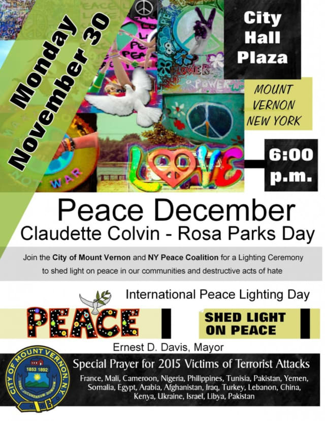 Mount Vernon City Mayor Ernest Davis joined officials from the New York Peace Coalition to take part in International Peace Lighting Day.
