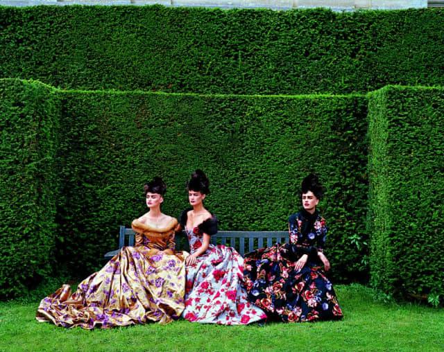 "Sable-trimmed satin gowns from Pierre Balmain Haute Couture by Oscar de la Renta, 1997. From ""Oscar de la Renta:  The Style, Inspiration, and Life of Oscar de la Renta."" Copyright Peter Lindbergh/Vogue, Condé Nast. Courtesy Assouline."