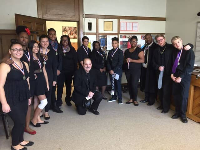 Peekskill's students with the medals they received after performing at the festival.