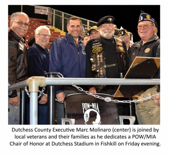 A POW/MIA Chair of Honor was dedicated at Dutchess Stadium in Fishkill.