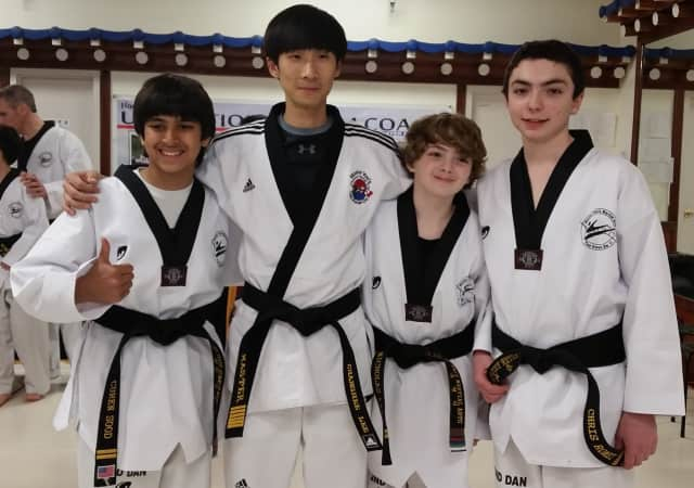 (from left) Curen Sood, Master Changhee Lee of Park Ridge Summit Martial Arts, Nick Lang and Chris Romei