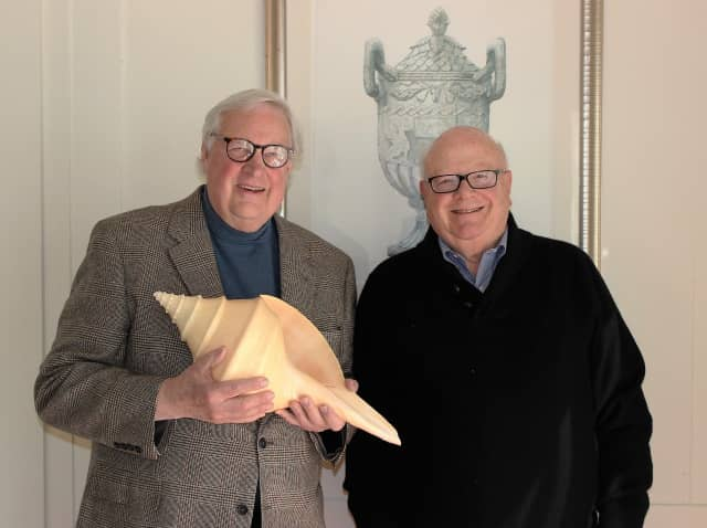 John Jenner, (left) holding a giant horse conch, and Joel Third, who collects rare antique maps, will give a talk at the Keeler Tavern Museum in Ridgefield.